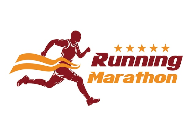 Running and marathon logo design, vector de la ilustración