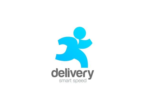 Running man delivery logo aislado en blanco