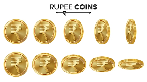Rupia 3d monedas de oro