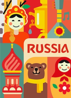 Rusia establece cartel. muñeca rusa, kremlin, samovar.