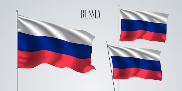 Rusia ondeando banderas de ilustración