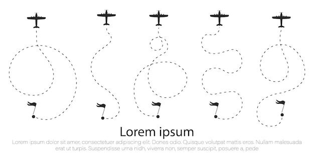 Ruta del avión en forma de línea de puntos.