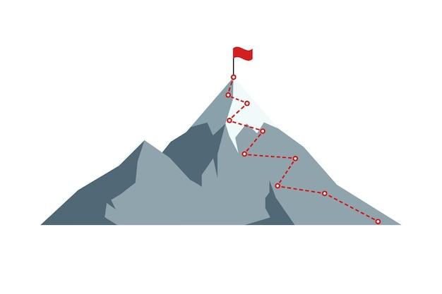 Ruta de escalada al pico con bandera roja en la cima de la roca. ruta de viaje de negocios en el concepto de aspiración de objetivo de éxito y motivación de progreso. misión de carrera dirección objetivo ilustración vectorial eps