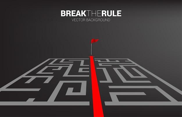 La ruta de la flecha roja sale del laberinto para marcar la plantilla