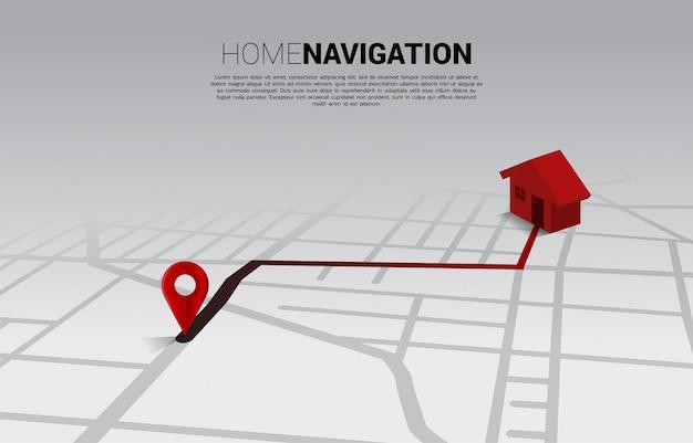 Ruta entre marcadores de pin de ubicación 3d y el hogar en el mapa de carreteras de la ciudad. concepto de infografía del sistema de navegación gps.