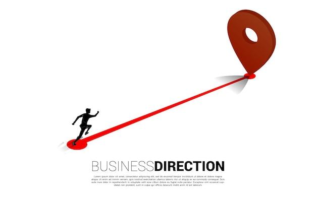 Ruta entre los marcadores de ubicación 3d y el empresario. concepto de ubicación y dirección comercial.