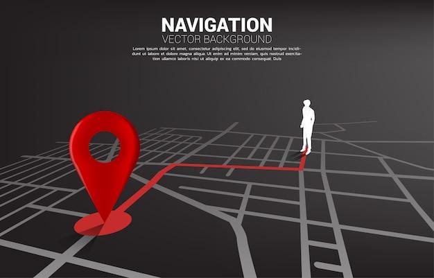 Ruta entre los marcadores de ubicación 3d y el empresario en el mapa de carreteras de la ciudad. concepto de infografía del sistema de navegación gps.