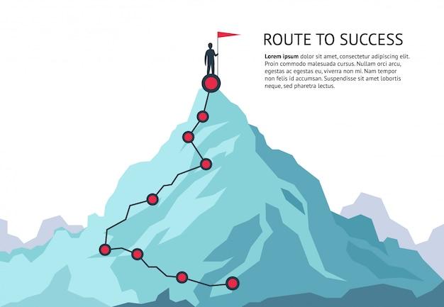 Ruta de viaje de montaña. ruta desafío infográfico carrera objetivo principal plan de crecimiento viaje hacia el éxito. escalada de negocios
