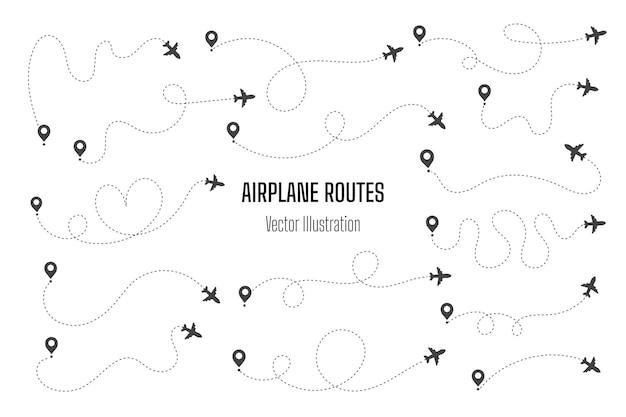 Rutas de avión. icono de viaje. viaje desde el punto de inicio y el trazado de la línea de puntos.