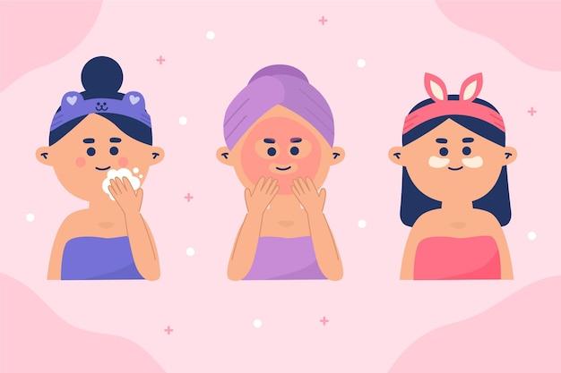 Rutina de cuidado de la piel para mujeres ilustrada