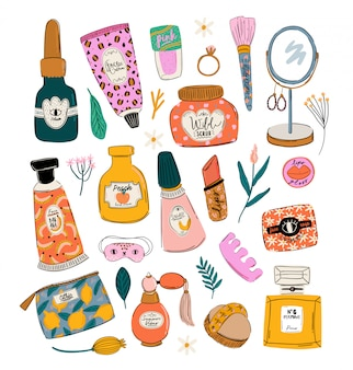 Rutina de cuidado de la piel con productos cosméticos orgánicos naturales en botellas, frascos, tubos para la piel en un moderno estilo doodle. lindas letras de poder femenino motivacionales e inspiradoras. ilustración