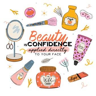 Rutina de cuidado de la piel con productos cosméticos orgánicos naturales en botellas, frascos, tubos