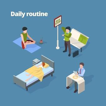 Rutina diaria. ilustración de actividades del día