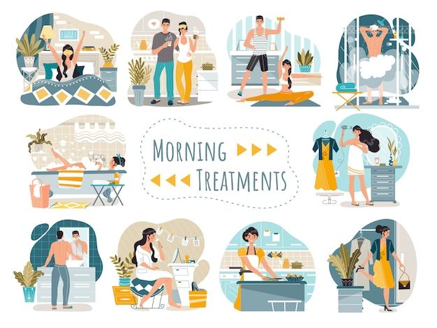 Rutina diaria matutina de personajes de dibujos animados de hombre y mujer, ilustración