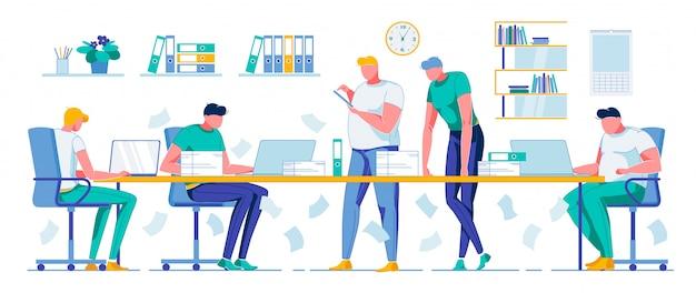 Rutina diaria de oficina y equipo de trabajadores de negocios