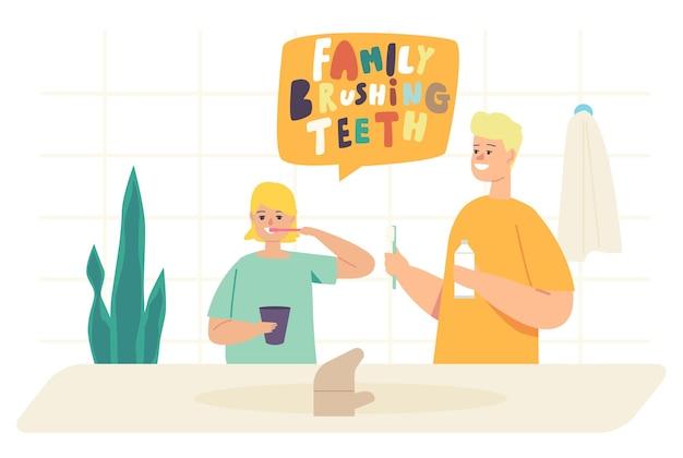 Rutina matutina infantil, cuidado bucal y de salud. niños cepillándose los dientes, feliz hermano y hermana personajes familiares con cepillo de dientes y procedimiento de higiene dental de pasta. ilustración de vector de gente de dibujos animados