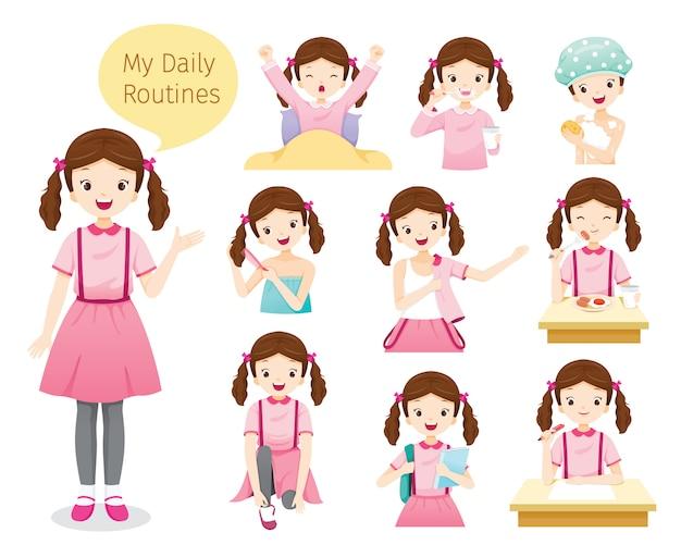 Las rutinas diarias de niña