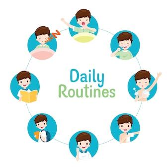Las rutinas diarias del niño en el gráfico circular, diversas actividades, aprendizaje, relajación