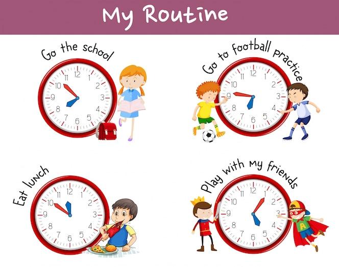 Rutinas diferentes en carteles con niños y actividades