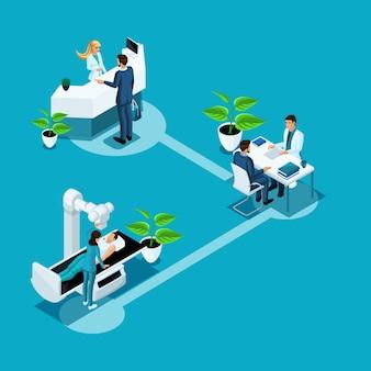 S atención médica y tecnologías innovadoras, hospital, personal médico, examen de pacientes, derivación al médico, recomendaciones de tratamiento