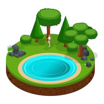 S camping, niña caminando, caminata escandinava por el bosque al aire libre, naturaleza, lago, bosque, montañas, árboles