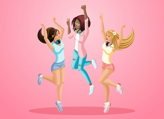S de niñas saltan, son felices, jóvenes adolescentes, generación z, se desarrollan el cabello. ilustración de primavera verano