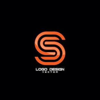 S symbol line art logo template vector