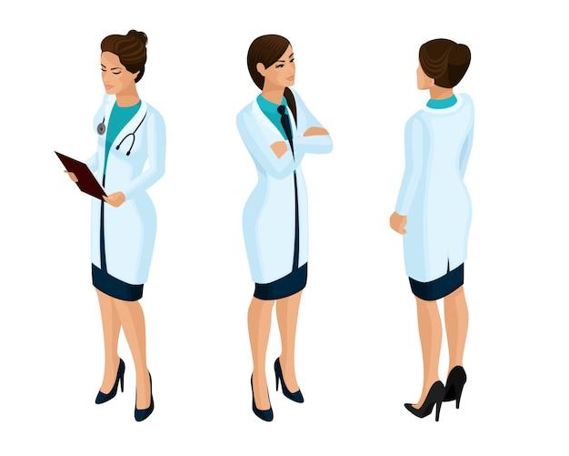 S de una trabajadora médica, un médico, un cirujano, una enfermera, hermosa en batas médicas durante el trabajo