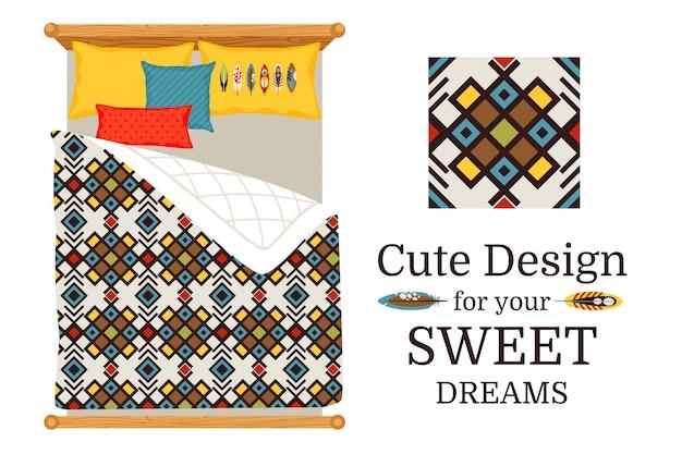 Sábanas de cama de los sueños dulces con un patrón decorativo geométrico ornamental y pieza patrón, ilustración vectorial