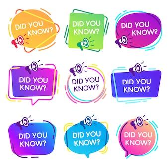 ¿sabías etiquetas? burbujas de discurso de hechos interesantes, etiqueta de base de conocimiento y conjunto de insignias aisladas de banner de preguntas frecuentes de redes sociales