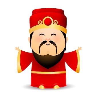 Sabio anciano chino en vestido rojo