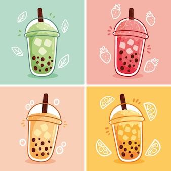 Sabores de té de burbujas dibujados a mano