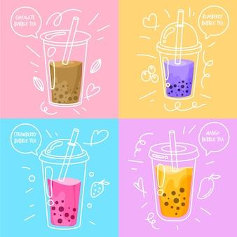 Sabores de té de burbujas de diseño dibujado a mano