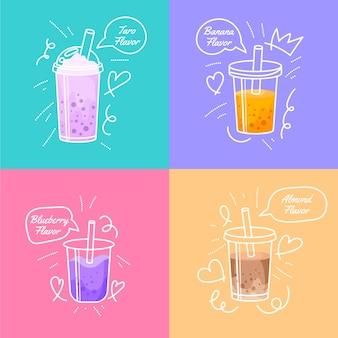Sabores de té de burbujas estilo dibujado a mano