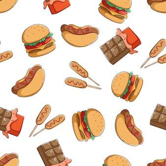 Sabrosa comida chatarra de patrones sin fisuras con hamburguesa hotdog y chocolate