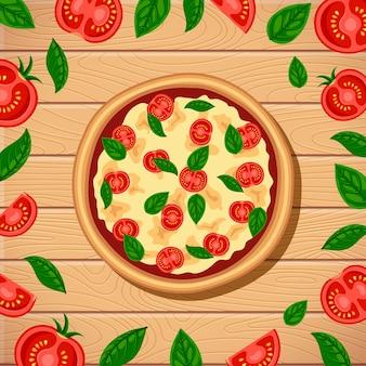 Sabrosa pizza margherita con ingredientes alrededor de la vista superior sobre fondo de mesa de madera. ilustración de comida italiana tradicional plana
