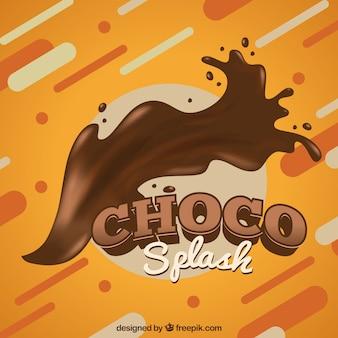 Sabrosa salpicadura de chocolate líquido en estilo realista