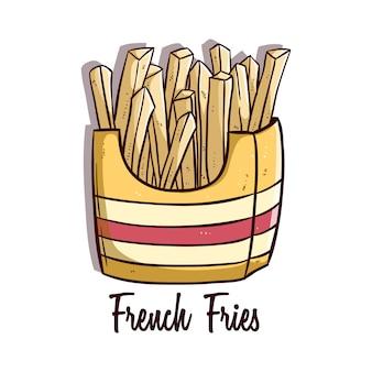 Sabrosas papas fritas con garabato coloreado o estilo dibujado a mano