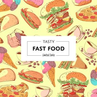 Sabroso cartel de comida rápida con menú para llevar