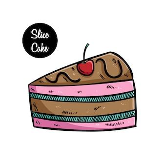 Sabroso pastel de rebanadas con cereza mediante el uso de arte dibujado a mano de color