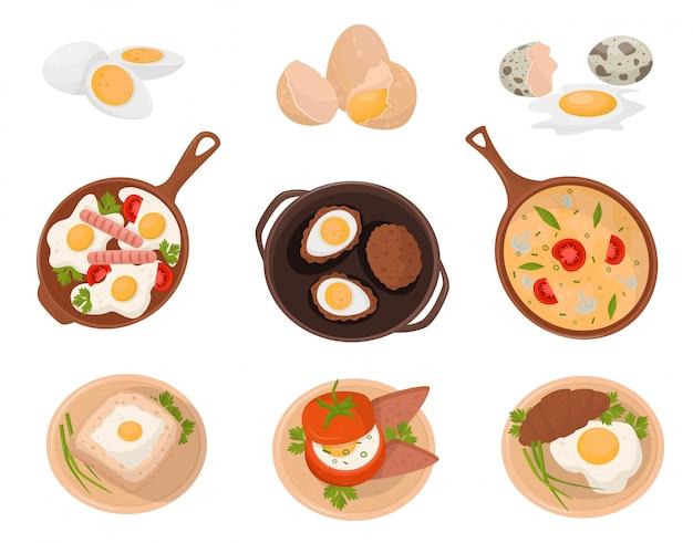 Sabrosos platos hechos con huevos, crudos, hervidos y fritos con varios ingredientes ilustración sobre un fondo blanco