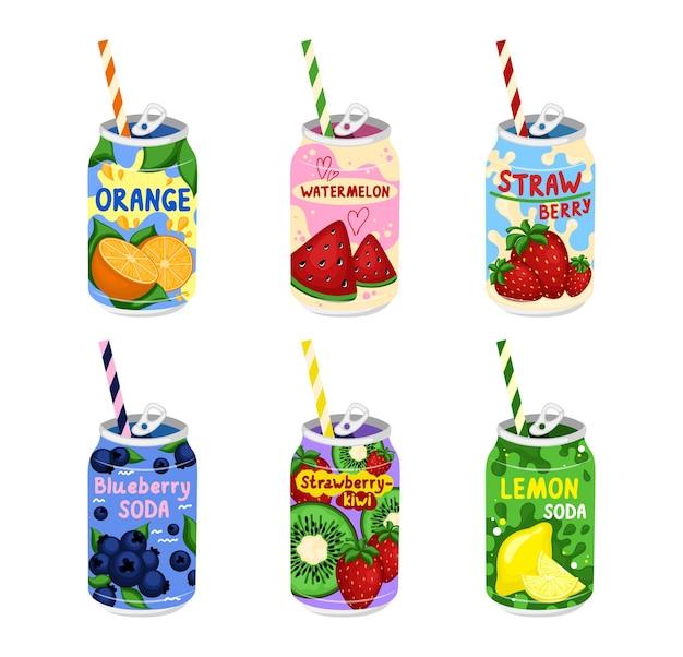 Sabrosos refrescos dibujados a mano conjunto de refrescos en latas de aluminio