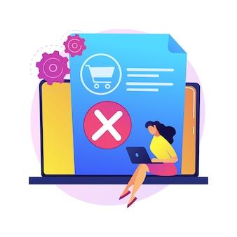 Sacar productos de la cesta, negarse a comprar, cambiar de decisión. eliminación de elementos, vaciado de la papelera. aplicación de compras en línea, personaje de dibujos animados de usuario de computadora portátil.
