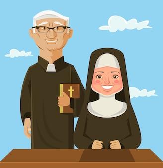Sacerdote y monja. ilustración de dibujos animados plano de vector