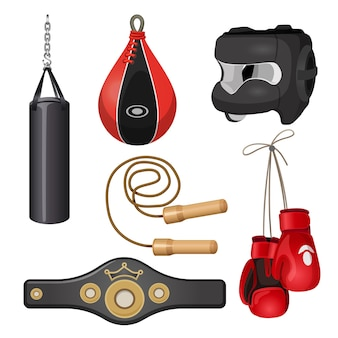 Saco de boxeo para equipos de boxeo, máscara protectora para la cabeza, saltar la cuerda, cinturón deportivo, guantes de cuero ilustración vectorial aislado sobre fondo blanco.