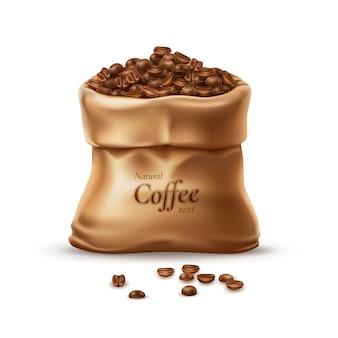 Saco de café realista con granos detallados