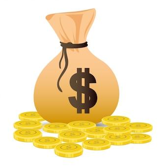 Saco dólar pila monedas de oro