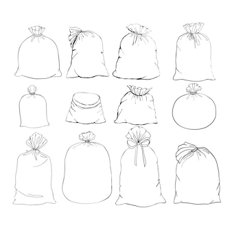 Saco de lona. bolsa de lona. conjunto de ilustraciones