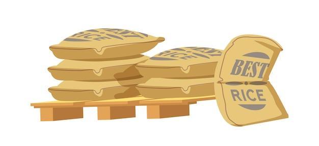 Sacos de arroz en paletas de madera, bolsas de arpillera con producción agrícola agrícola en fardos de textil marrón, pila de sacos cerrados o pila aislada sobre fondo blanco. ilustración vectorial de dibujos animados