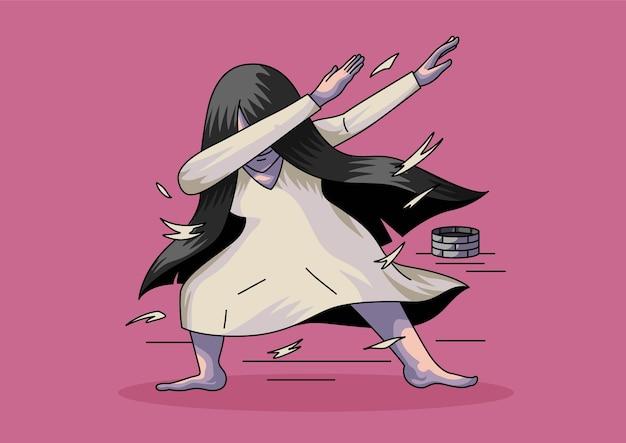 Sadako japonés fantasma dabbing halloween